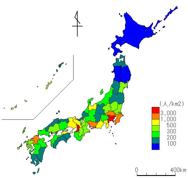日本 県別日本地図 : ... 人口密度のグラフ(日本地図